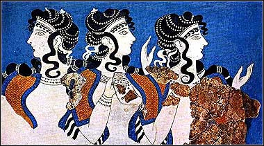 Digitally enhanced image of Minoan fresco of Parisians